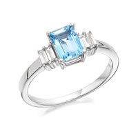 9ct White Gold Aquamarine And Diamond Ring - 17pts - D6881-M