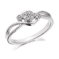 9ct White Gold Diamond Trilogy Cluster Crossover Ring - 8pts - D6895-L