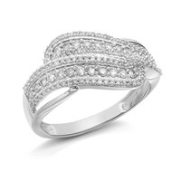 9ct White Gold Diamond Crossover Band Ring - 1/2ct - D6899-L