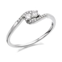 U&Me 9ct White Gold Diamond Crossover Ring - 20pts - EXCLUSIVE - D6913-J