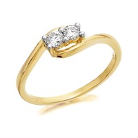 U&Me 9ct Gold Diamond Crossover Ring - 20pts - EXCLUSIVE - D6932-L