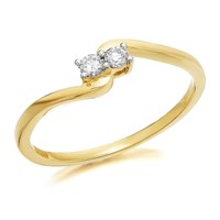 U&Me 9ct Gold Diamond Twist Ring - 10pts - EXCLUSIVE - D6933-K