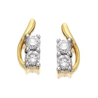 U&Me 9ct Gold Diamond Curl Earrings - 20pts per pair - EXCLUSIVE - D6941