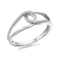 9ct White Gold Double Loop Diamond Ring - 8pts - D7008-M