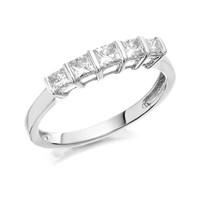 9ct White Gold Five Stone Princess Cut Diamond Ring - 1/2ct - D7009-S