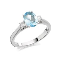 9ct White Gold Aquamarine And Diamond Trilogy Ring - 14pts - D71103-M