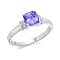 9ct White Gold Cushion Tanzanite And Diamond Ring - 6pts - D71104-M