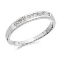 9ct White Gold Princess Cut Diamond Half Eternity Ring - 1/4ct - D71108-P