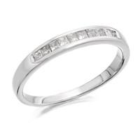 9ct White Gold Princess Cut Diamond Half Eternity Ring - 1/4ct - D71108-P