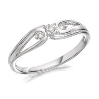 9ct White Gold Diamond Trilogy Bow Ring - 6pts - D71121-Q