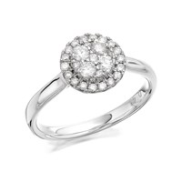 9ct White Gold Diamond Halo Cluster Ring - 40pts - D71124-R