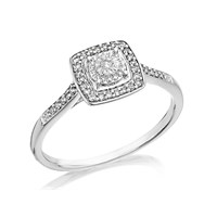 Women's Jewellery 9ct White Gold Diamond Cushion Cluster Ring - 12pts - EXCLUSIVE - D71130-J