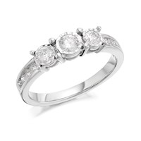 9ct White Gold Diamond Trilogy Ring - 1/2ct - D71134-R