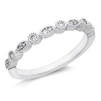 9ct White Gold Diamond Beaded Half Eternity Ring - 11pts - D71150-M