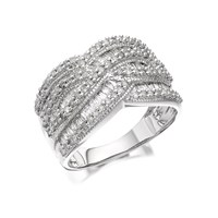 9ct White Gold 1 Carat Diamond Four Row Band Ring - D7129-M