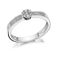 9ct White Gold Diamond Ring - 15pts - D7142-L