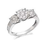 9ct White Gold 1 Carat Diamond Trilogy Cluster Ring - D7147-P