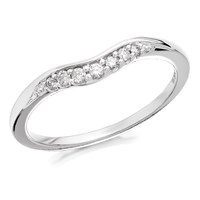 9ct White Gold Diamond Wishbone Ring - 10pts - D7158-K