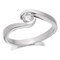 9ct White Gold Diamond Twist Ring - 1/4ct - D7162-K