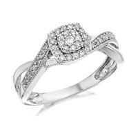 9ct White Gold Diamond Cluster Ring - 1/4ct - D7163-M