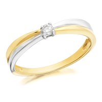 9ct Gold Two Colour Diamond Ring - 6pts - D7166-L