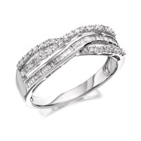 9ct White Gold Diamond Crossover Band Ring - 1/3ct - D7181-M