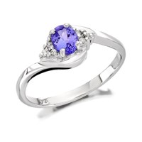 9ct White Gold Tanzanite And Diamond Crossover Ring  D7187O