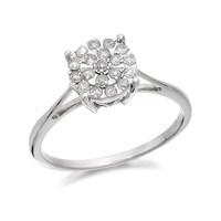 9ct White Gold Diamond Cluster Ring - 1/4ct - D7192-N