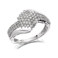 9ct White Gold Diamond Crossover Cluster Ring - 1/2ct - D7195-O