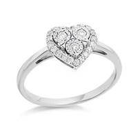 9ct White Gold Diamond Heart Cluster Ring - 20pts - D7197-N