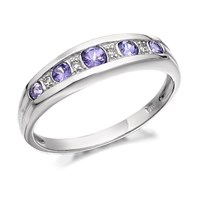 9ct White Gold Diamond And Tanzanite Half Eternity Ring - D7205-M