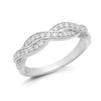 9ct White Gold Diamond Wave Band Ring - 1/3ct - D72108-K