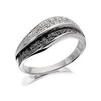 9ct White Gold Night And Day Black And White Diamond Wave Ring - 1/4ct - D7210-Q