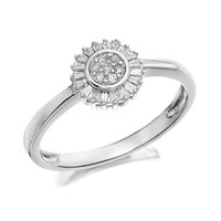 9ct White Gold Diamond Starburst Ring - 12pts - D7211-Q