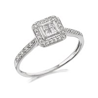 9ct White Gold Princess Cut Diamond Cluster Ring - 20pts - D7212-O