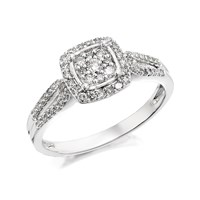 9ct White Gold Diamond Cluster Ring - 1/3ct - D7215-J