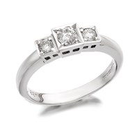 9ct White Gold Diamond Trilogy Ring - 1/3ct - D7217-L