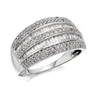 9ct White Gold 1 Carat Diamond Band Ring - D7220-N