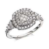 9ct White Gold 1 Carat Diamond Cushion Cluster Ring - D7224-S