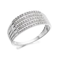 9ct White Gold Five Strand Diamond Band Ring - 1/3ct - D7235-N