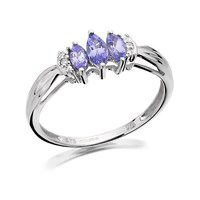 9ct White Gold Diamond And Triple Marquise Tanzanite Ring  EXCLUSIVE  D7241M