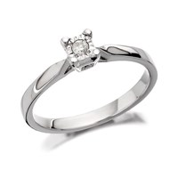 9ct White Gold Diamond Ring - 5pts - D7259-K