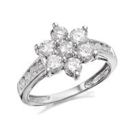 9ct White Gold 1.5 Carat Diamond Flower Cluster Ring - D7261-S