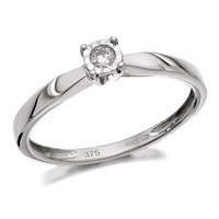 9ct White Gold Diamond Ring - 5pts - D7262-L
