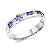 9ct White Gold Amethyst And Diamond Half Eternity Ring - 6pts - D7272-O