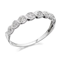 9ct White Gold Wavy Diamond Ring - 5pts - D7273-R
