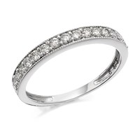 9ct White Gold Beaded Edge Diamond Half Eternity Ring - 40pts - D7275-J