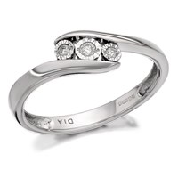 9ct White Gold Diamond Trilogy Crossover Ring - 5pts - EXCLUSIVE - D7280-N