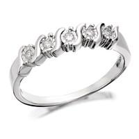 9ct White Gold Five Diamond Swirl Ring - 5pts - D7283-Q