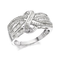 9ct White Gold Twisted Band Ring - 1/2ct - D7285-R